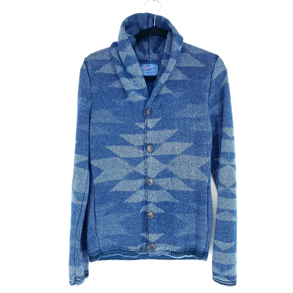 Lucky Brand Intarsia Knit Southwest Pullover Hooded Sweater Hoodie NWT $129 Blue
